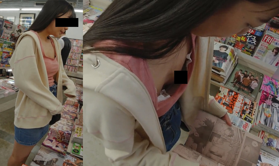 【Pcolle】【顔出し】立ち読みJC書店逆さ撮り/ブラのサイズ合ってなくて乳首マル見え/デニムスカートの中はラインの入った純白P【無防備】【ぴろり菌】