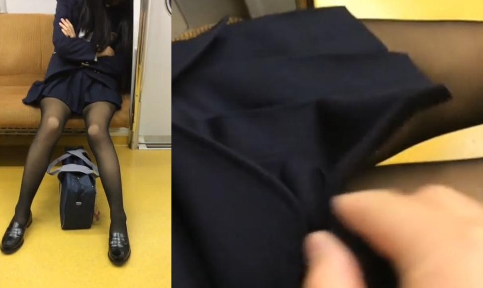 【Pcolle】居眠り中の黒パンストJKのスカートをめくってみた♥ vol.6【生ぱん粉】